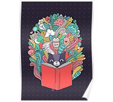 Cat reading a book. Poster