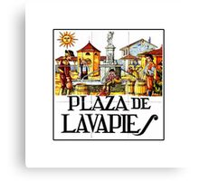 Plaza de Lavapies, Madrid Street Sign, Spain Canvas Print