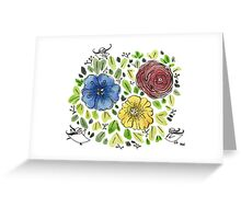 Three Flower Squig - Spring Collection  Greeting Card