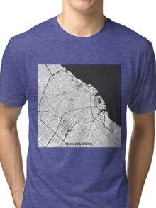 Buenos Aires City Map Gray Tri-blend T-Shirt