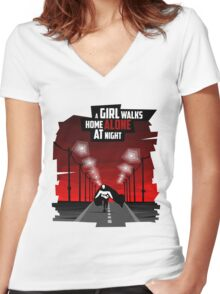 A Girl Walks Home Alone At Night Women's Fitted V-Neck T-Shirt