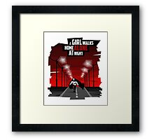A Girl Walks Home Alone At Night Framed Print