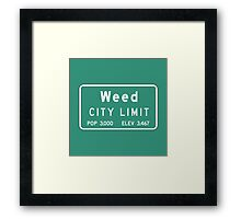 Weed City Limit, Road Sign, California Framed Print