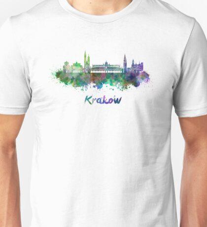 Krakow skyline in watercolor Unisex T-Shirt