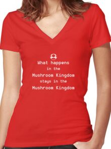 What happens in the Mushroom Kingdom... Women's Fitted V-Neck T-Shirt