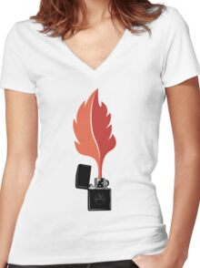 Forest Fire Women's Fitted V-Neck T-Shirt