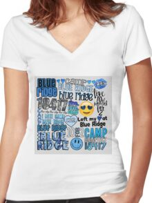 Blue Ridge Words Collage Women's Fitted V-Neck T-Shirt