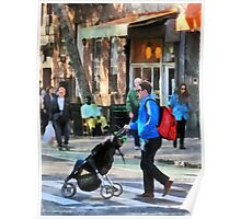 Manhattan NY - Daddy Pushing Stroller Greenwich Village Poster