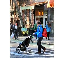 Manhattan NY - Daddy Pushing Stroller Greenwich Village Photographic Print