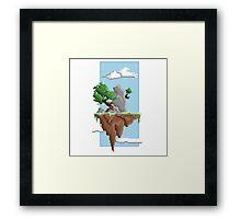 Pixel Landscape : Flying Island Framed Print