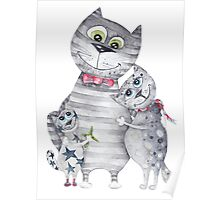 Cute Cat Family Painting  Poster