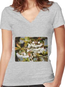 Flower Art - Apple Blossoms Women's Fitted V-Neck T-Shirt