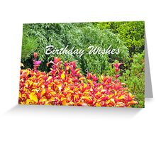Pink and Yellow Leaves Birthday Greeting Card