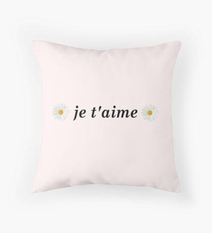 Je T'aime I love you French France Daisy Daisies Tumblr Throw Pillow