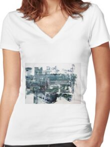 Western Wall - Original Wall Modern Abstract Art Painting Original mixed media Women's Fitted V-Neck T-Shirt