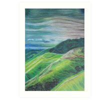 Green Hills Oil Pastel Drawing Art Print
