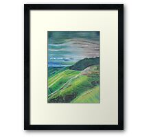 Green Hills Oil Pastel Drawing Framed Print