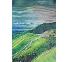 Green Hills Oil Pastel Drawing Photographic Print