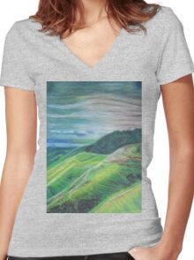 Green Hills Oil Pastel Drawing Women's Fitted V-Neck T-Shirt