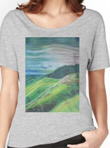 Green Hills Oil Pastel Drawing Women's Relaxed Fit T-Shirt