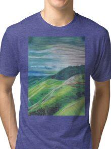 Green Hills Oil Pastel Drawing Tri-blend T-Shirt