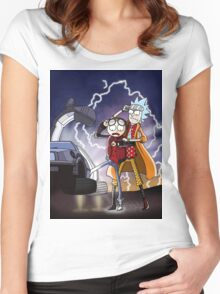 Rick And Morty Back To The Future Mash-Up Women's Fitted Scoop T-Shirt