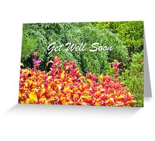 Pink and Yellow Leaves Get Well Greeting Card