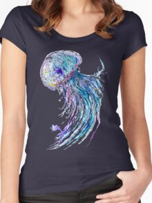 Jelly fish watercolor and ink painting Women's Fitted Scoop T-Shirt