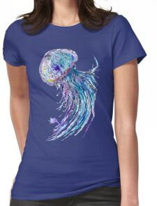 Jelly fish watercolor and ink painting Womens Fitted T-Shirt