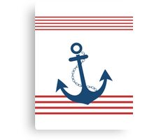 Nautical Striped Design with Anchor Canvas Print