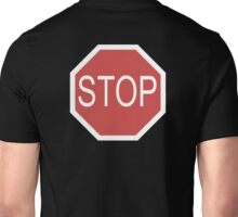 STOP, Sign, Old American, Americana, USA, America, Road Sign, Red on BLACK Unisex T-Shirt