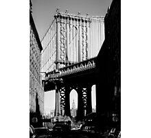 Empire State Building through Manhattan Bridge Photographic Print
