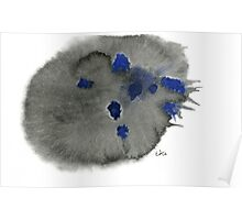 Abstract Black and Blue - Watercolor Painting Poster