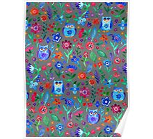 Little Owls and Flowers on Grey Poster