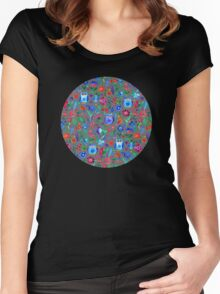 Little Owls and Flowers on Grey Women's Fitted Scoop T-Shirt