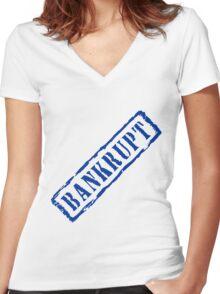 Bankrupt, retro blue stamp Women's Fitted V-Neck T-Shirt