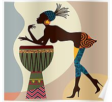 African woman with bongos Poster