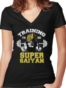 training to go super saiyan 2  Women's Fitted V-Neck T-Shirt