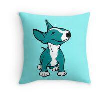 English Bull Terrier Pup Teal/ Aqua Throw Pillow