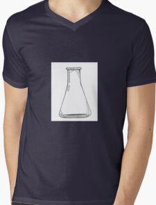 Black And White Chemistry Beaker Mens V-Neck T-Shirt