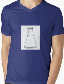 Black And White Chemistry Beaker Mens V-Neck T-Shirt
