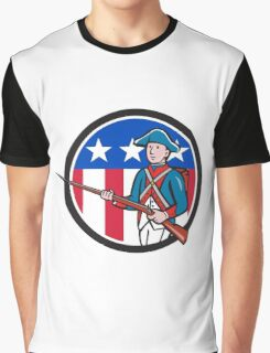 American Revolutionary Soldier USA Flag Circle Cartoon Graphic T-Shirt