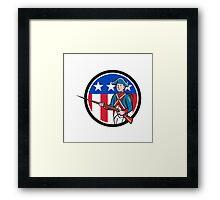 American Revolutionary Soldier USA Flag Circle Cartoon Framed Print