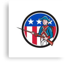 American Revolutionary Soldier USA Flag Circle Cartoon Canvas Print