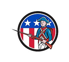 American Revolutionary Soldier USA Flag Circle Cartoon Photographic Print