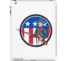 American Revolutionary Soldier USA Flag Circle Cartoon iPad Case/Skin
