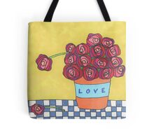 Lovely pot of red and pink roses Tote Bag