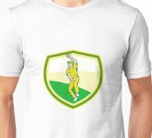 Cricket Player Bowling Crest Cartoon Unisex T-Shirt