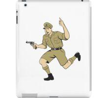 World War One British Officer Running Pistol Cartoon iPad Case/Skin