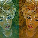 green and gold spacegirl by evon ski